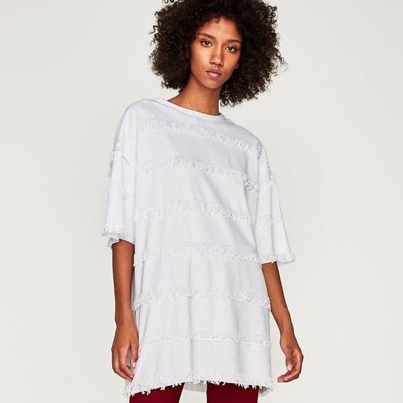 cdbdef1b NWT Zara Oversized Fringe T-Shirt Dress NWT